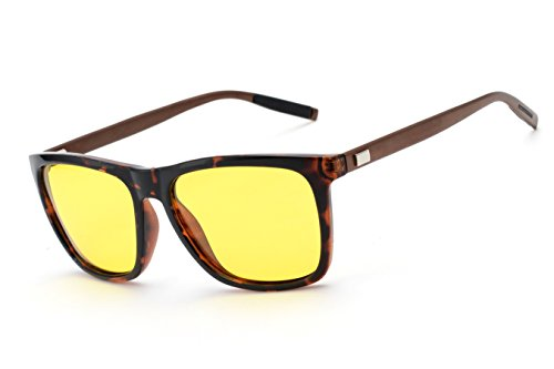 ZUVGEES Square Polarized Night Vision Driving Sunglasses,Aluminum Magnesium Temple,Yellow Lenses Block Nighttime Glare,Perfect for Any Weather A387 (Leopard - Night Time Sunglasses