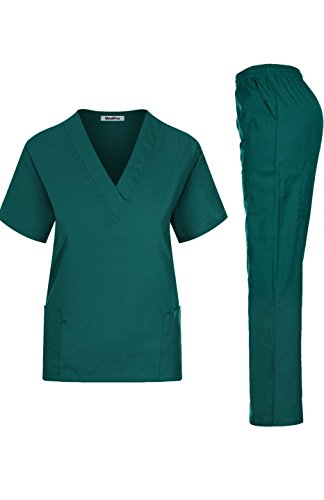 Contrast Trim Mock Wrap Top - MedPro Women's Medical Scrub Set Mock Wrap and Cargo Hunter Green XS (GT-766)