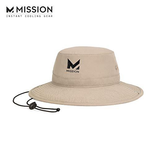 "MISSION Cooling Bucket Hat- UPF 50, 3"" Wide Brim, Cools When Wet- Khaki"