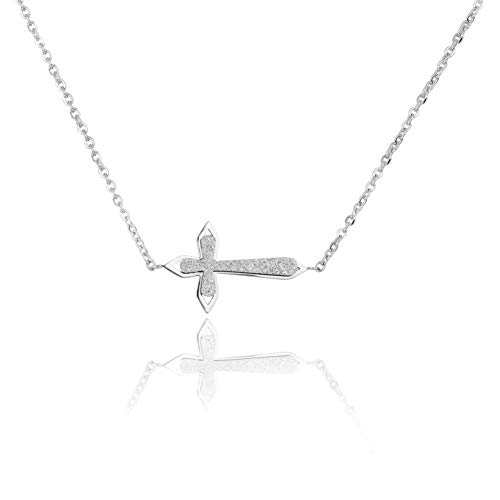 - WDSHOW Sideways Cross Necklace Frosted Silver-Tone