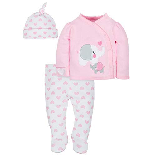 Baby Girl Take-Me-Home Outfit Set, 3-Piece Pink Elephant (Preemie)