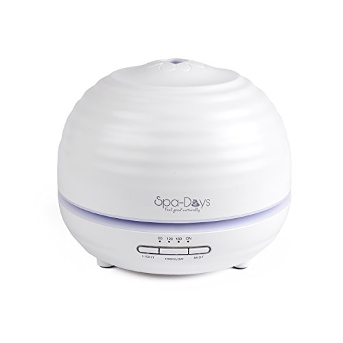 Spa Days Essential Oil Diffuser - True Ultrasonic Cool Mist Humidifer With Adjustable Color LED Lights, Portable, Waterless Auto Shut-Off, 300 ml