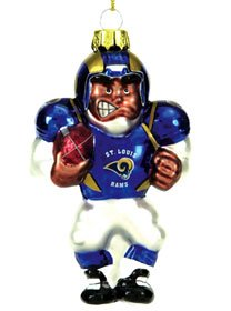 St. Louis Rams Blown Glass Football Player Ornament