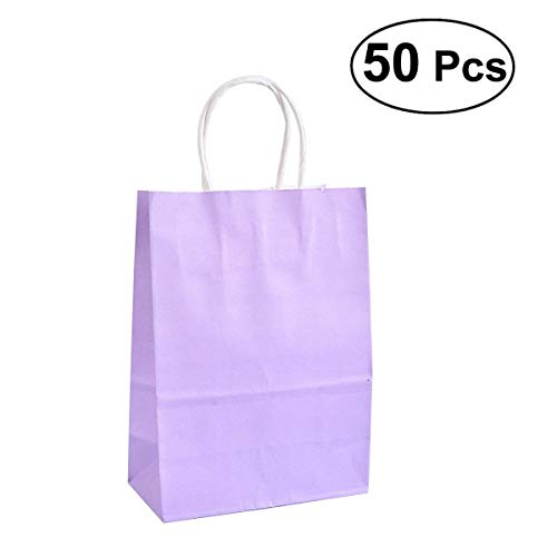 tival Party Decoration 50pcs Kraft Paper Bags Party Gift Candy Handle Bags (Purple) ()
