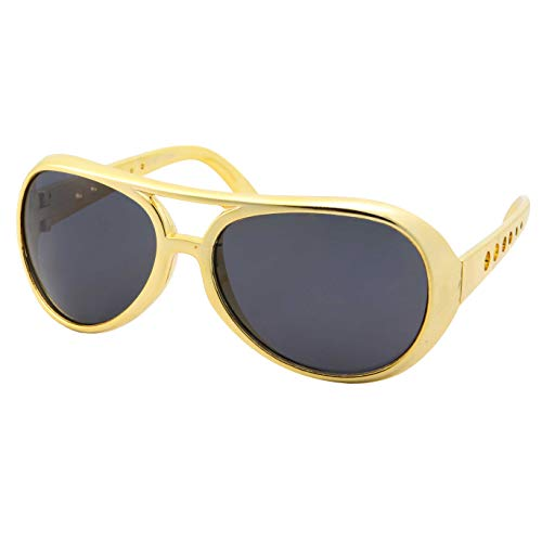 50's 60's Rock Star Sunglasses - Elvis Style Aviator Glasses - Mens Costume (Gold Frame, Black Lens)