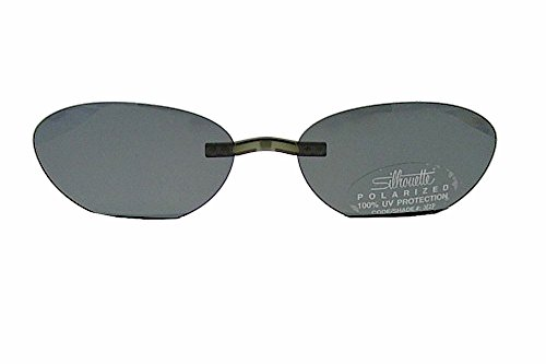 Silhouette Enviso Clip-On 5076 Polarized Gray Sunglasses(Shape:6663 - Silhouette Clip Sunglasses Glasses On