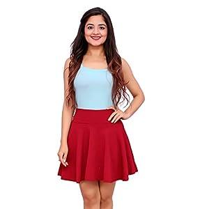 Mani Day Women's Stretchable Western Cotton Lycra High Waist Flared Royal Knit Skater Short Mini Skirt Maroon