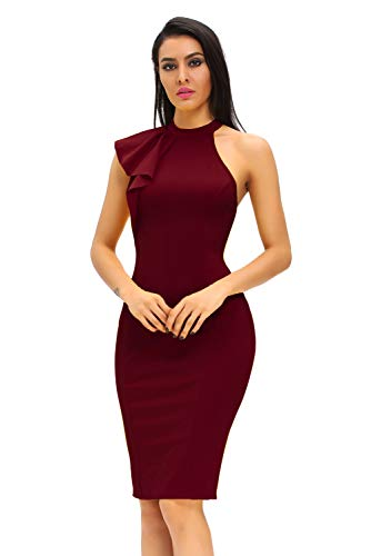 Shopall Women's Fashion Ruffle Sleeve One Shoulder High Neck Midi Bodycon Cocktail Party Dress (Wine Red, Small)
