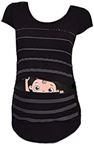 Dsood Nursing Tops, Woman Maternity T-Shirt Stripe Baby Print Ruched Side Top Pregnancy Funny Fashion Style Bl
