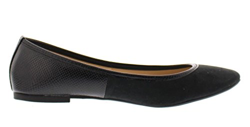 Gold Toe Women's Ermina Mixed Media Faux Suede and Snake Skin Round Toe Ballet Flat Comfort Dress Shoes Black 10 US by Gold Toe (Image #3)'