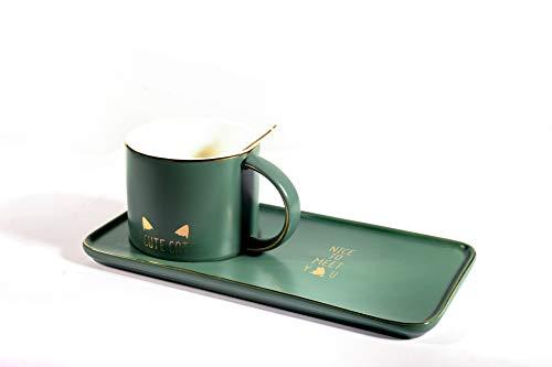 Huasheng Fine China 8.5 oz Delicate Royal Bone China Coffee Mug Print Cup Ceramic Tea Cups With Spoon and Tray/Saucer Set (Green cat)