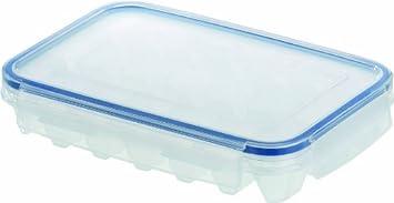 Emsa 505320 Eiswürfelbox mit Deckel, 21 Stück Eiswürfel, Transparent/Blau, Clip & Close