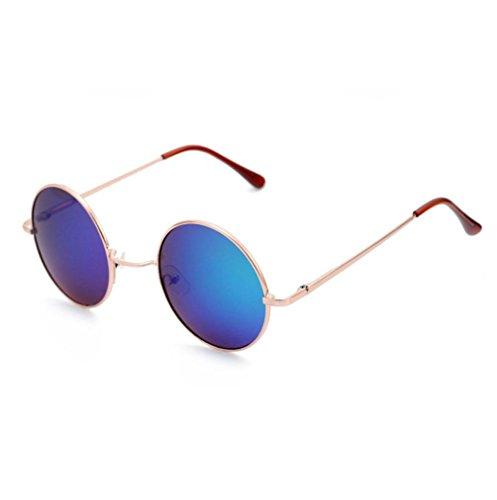 QingFan Men Women Round Vintage Aviator Mirrored Sunglasses Circle Eyewear Summer Outdoor Glasses (I, - Sunglasses Round Cheap