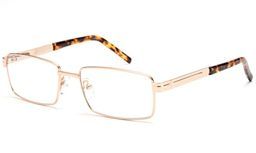 Newbee Fashion - Light Weight Metal Frame Squared Durable Reading Glasses with Spring Temple Gold