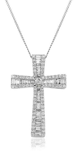 1.25CT Certified G/VS2 Baguette and Round Brilliant Cut Diamond Cross Pendant in 18K White Gold