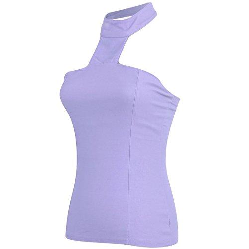 Vshop-2000 Women's Halter Neck Sleeveless Elastic Back Slim Fit Tops