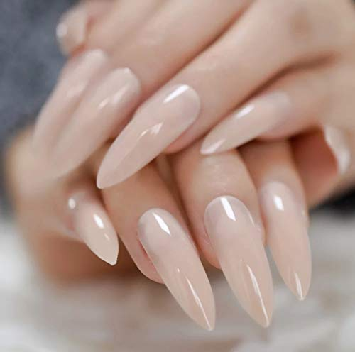EDA LUXURY BEAUTY NUDE BEIGE GLAMOROUS DESIGN Full Cover Press On Gel Glitter Artificial Tips Acrylic Extreme False Nails Extra Long Round Pointed Ballerina Almond Stiletto Super Fashion Fake Nails