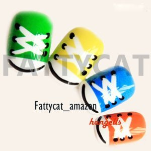 (sale)COLORFUL CARTOON FASHION JAPANESE NAIL 24 NAIL TIPS SOLD BY FATTYCAT
