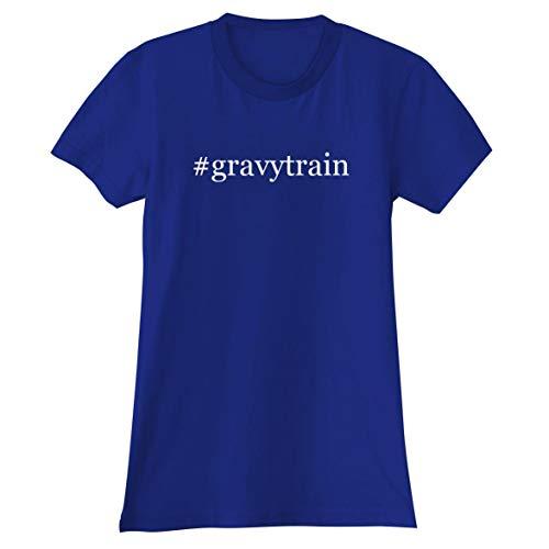 - The Town Butler #gravytrain - A Soft & Comfortable Hashtag Women's Junior Cut T-Shirt, Blue, Small