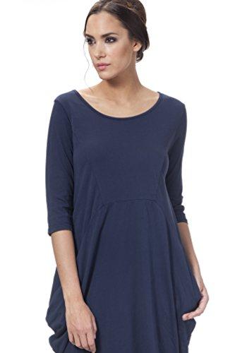 Tantra Asymetric dress with Pockets - Vestido de manga 3/4 para mujer Azul (Navy)