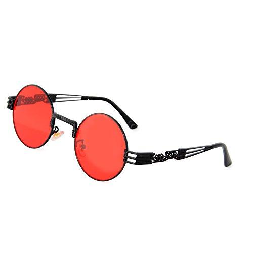de Metal Redondo Roja Gafas Marco Vendimia Steampunk de Del Negro Gafas AMZTM Marco Lente Sol de vptxzAqq