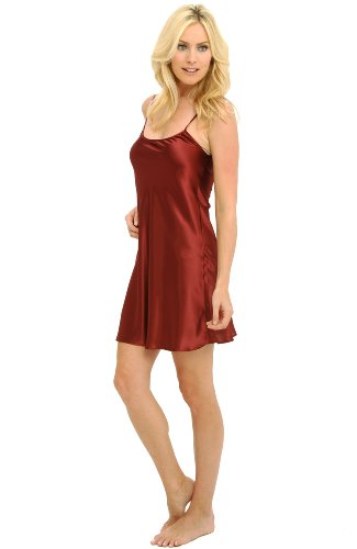 Del Rossa Women's Satin Nightgown, Long Camisole Chemise, Small Burgundy (A0766BRGSM)
