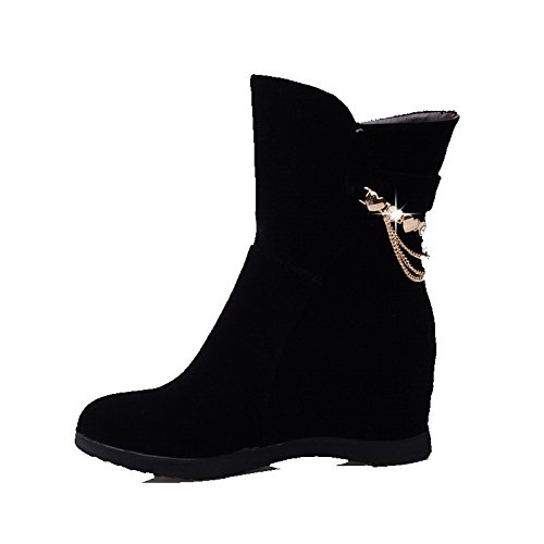 AgooLar Women's Low-top Pull-on Frosted High-Heels Round Closed Toe Boots Black iWthaphT6