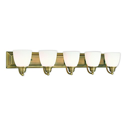 Livex Lighting 10505-01 Antique Brass Bath Vanity with Satin Opal Glass (Bath Brass Light Satin)