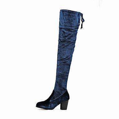 Heart&M Mujer Tacones Confort Innovador Botas de Moda Otoño Invierno Cuero Nobuck Boda Vestido Fiesta y Noche Tacón Robusto Negro Azul 5 - 7 cms blue