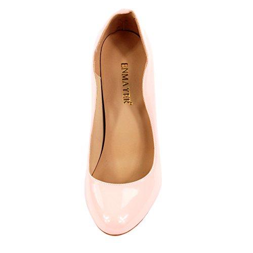 ENMAYER Frauen PU Material High Heels runde Toe Slip-on Stilett Party Brautkleid Pumps Shallow Schuhe Rosa
