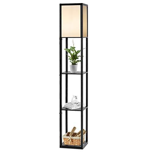 COSTWAY Houten plank vloerlamp, 3-laags staande lamp, 160cm hoge staande lampen met planken, voor woonkamer en…