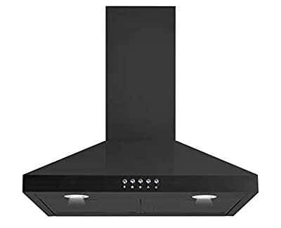 """Winflo New 30"""" Convertible Black Color Wall Mount Range Hood with Aluminum Mesh filter, Ultra bright LED lights and Push Button 3 Speed Control"""