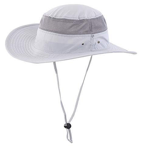 Lightweight Bucket Hat - Unisex Outdoor Mesh Sun Hat Camouflage Boonie Bucket Hats Fishing Hats with String Gray, 55 60cm