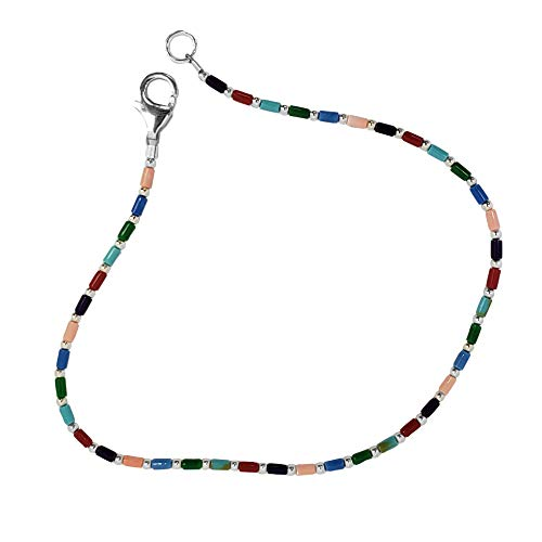 """FRONAY Sterling Silver Anklet Bracelet for Women, Rainbow Multi Color Tube Stones 9"""" (Rainbow)"""
