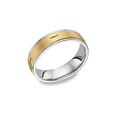 Amazon Com Christian Cross Wedding Band Ring 14k Two Tone Gold For