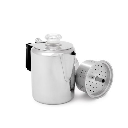 GSI Outdoors Glaicer Stainless Percolator with Silicone Handle, 3 Cup