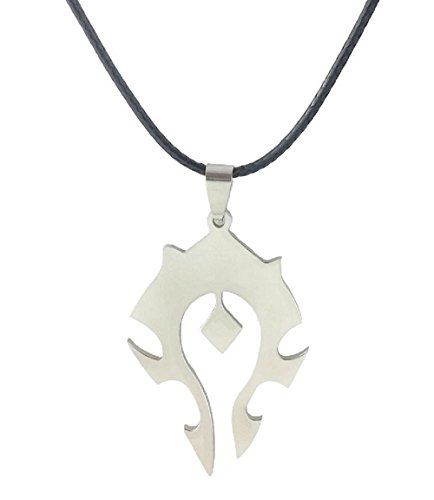 Stainless Steel Necklace WOW World of Warcraft Symbol Horde Logo Pendant on Leather Cord