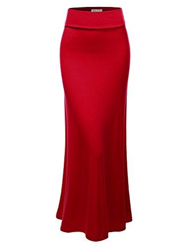 Doublju Women Waist band Zippered Skirt Comfy fit Active BURGUNDY Long Skirt,XXX-Large,3XL
