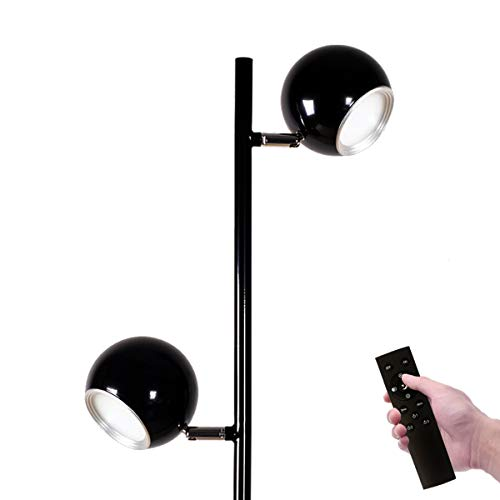 2 Floor Adjustable Lamp - Oneach Dorris Modern LED Floor Lamp with Remote Control Adjustable 3-Way Switch Two LED Lights,Dimmable Warm to Cool White,Minimalist Standing Office Tall Pole Lamps for Reading Living Room Bedroom