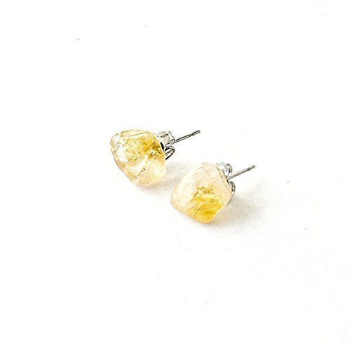 Raw Citrine Earrings - Healing Yellow Crystal Flow Studs | November Birthstone