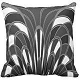 Mushroom Abstract - Art Deco Gray Grey Throw Pillow Cover 22