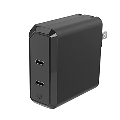 SCOSCHE HPDC8C8 Certified Powervolt USB Type-C with Power Delivery 3.0 Type-C Fast Charger for Standard USB-C Devices, Black