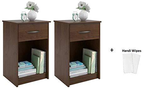 Alder Bedroom Bed - Set of 2 Nightstand MDF End Tables Pair Bedroom Table Furniture, (2 Sets + Handi Wipes, Northfield Alder)