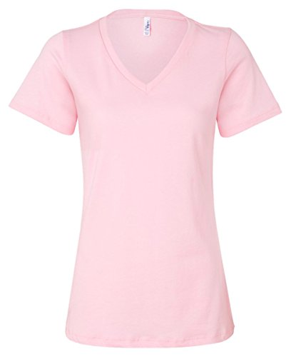 (Bella girls Missy's Relaxed Jersey Short-Sleeve V-Neck T-Shirt(6405)-PINK-S)