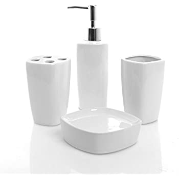 4 piece white ceramic bathroom set pump soap dispenser toothbrush holder tumbler cup - White Bathroom Accessories Ceramic