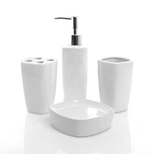 (MyGift 4 Piece White Ceramic Bathroom Set - Pump Soap Dispenser, Toothbrush Holder, Tumbler Cup & Soap Dish Tray)