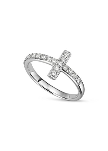 Round Brilliant Cut 1.8mm Moissanite Pave Cross Ring size 8, 0.48cttw DEW by Charles & Colvard by Charles & Colvard (Image #4)