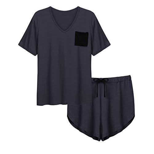 1976f8b492 Langle Pajama Sets Women Sleepwear Cotton Sleep Top and Shorts Nightwear  S-XXL 85%