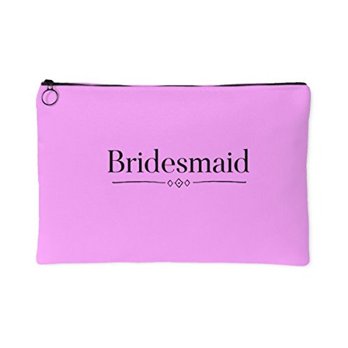 Bridesmaid cotton accessory pouch bridal party pink make-up cosmetic bag carryall gift for women appreciation wedding party