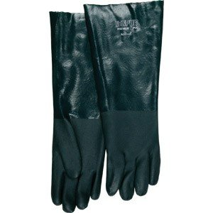 Supported PVC Gloves (Single Dipped, Smooth Finish, Knit Wrist)